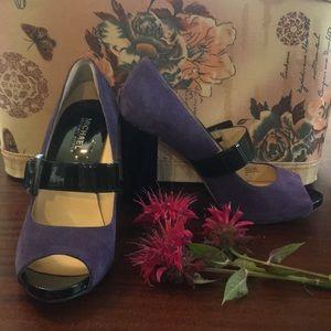 Micheal Kors Purple and Black peep toe heels